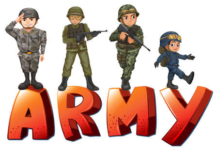 jobs cartoon: Illustration a many soldiers with guns Illustration