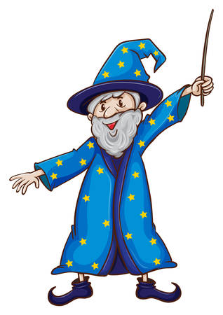 Illustration of a close up wizard with a wand