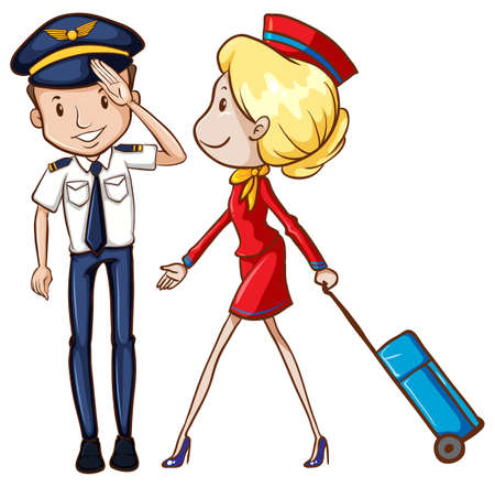 airport cartoon: illustration of a pilot and a flight attendant