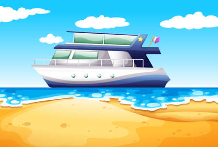 docking: Illustration of a boat floating next to the beach Illustration