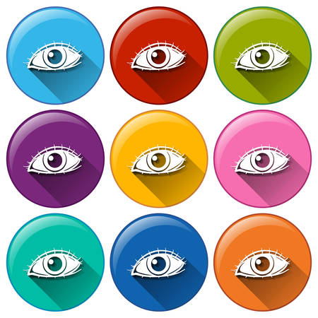 optic nerve: Illustration of the round icons with eyes on a white background Illustration