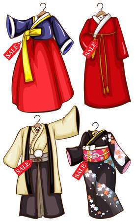 chinese dress: Illustration of the simple sketches of the Asian costumes on sale on a white background