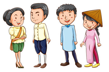filipino: Illustration of the simple coloured sketches of the Asian people on a white background