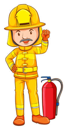 handheld device: Illustration of a coloured drawing of a fireman on a white background