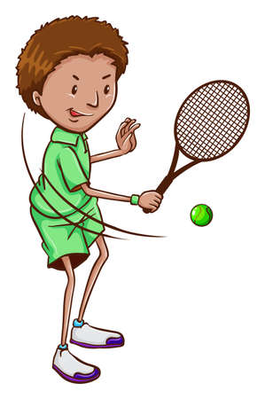 contestant: Illustration of a boy playing tennis on a white background
