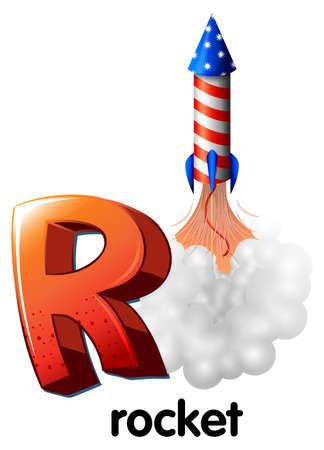 high volume: Illustration of a letter R for rocket on a white background Illustration