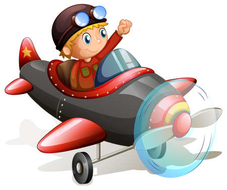 kinetic: Illustration of a vintage plane with a young pilot on a white background