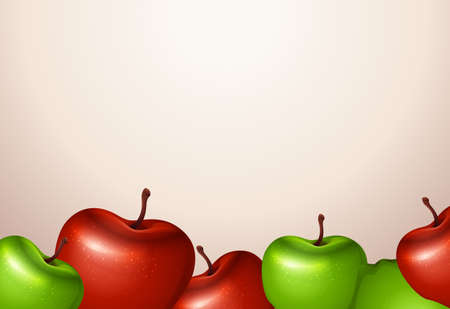 rosaceae: Illustration of a template with red and green apples