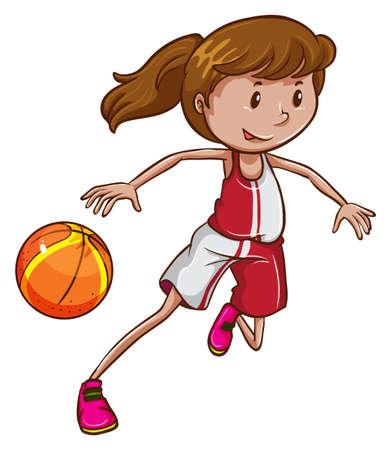 baloncesto chica: Ilustración de una pelota de baloncesto niña jugando en un fondo blanco