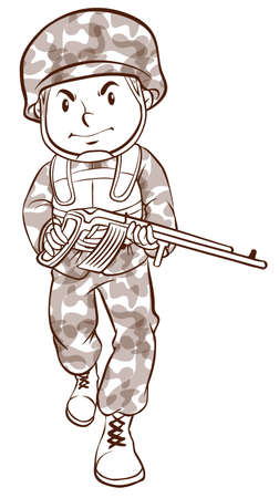 infantryman: Illustration of a simple drawing of a soldier on a white background