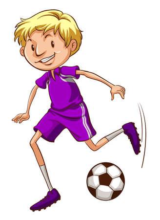예행 연습: Illustration of a soccer player with a violet uniform on a white background 일러스트