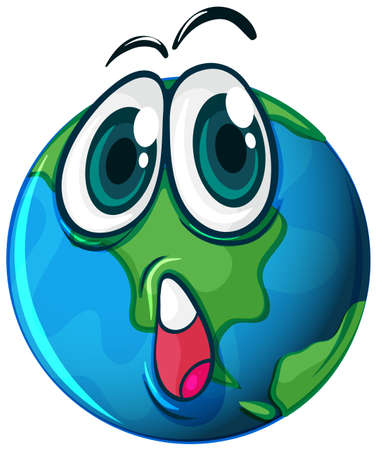 Illustration of a planet with a face on a white background Illustration