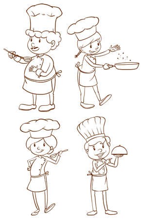 culinary arts: Illustration of the simple plain sketches of the chefs on a white background
