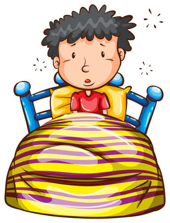 Illustration of a coloured sketch of a boy waking up early on a white background