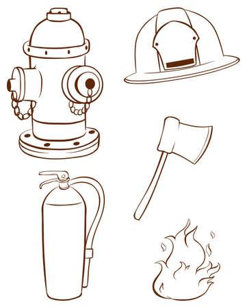 borne fontaine: Illustration des simples croquis des objets utilisés par un pompier sur un fond blanc Illustration