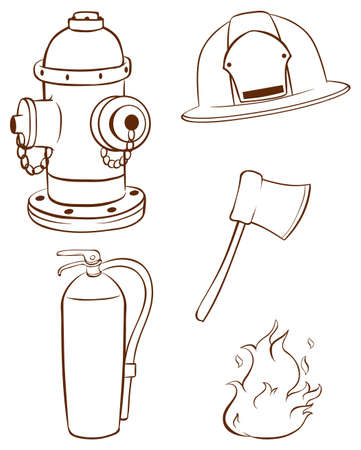 the fireman: Illustration of the simple sketches of the things used by a fireman on a white background