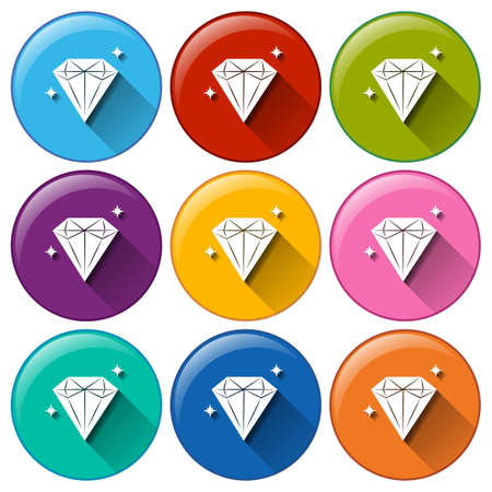 Illustration of the round icons with diamonds on a white background Vector