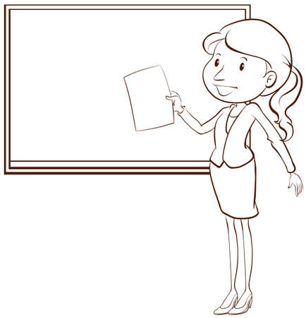 disposition: Illustration of a plain sketch of a teacher on a white background