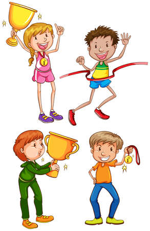silver medal: Illustration of a simple coloured sketch of the winners on a white background Illustration