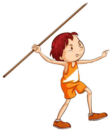 throwing: Illustration of a coloured sketch of a boy holding a stick on a white background Illustration