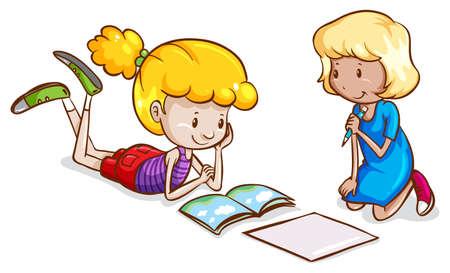 kleine meisjes: Illustratie van de kleine meisjes studeren op een witte achtergrond Stock Illustratie