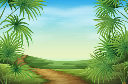 Illustration of a beautiful landscape with palm plants Vector