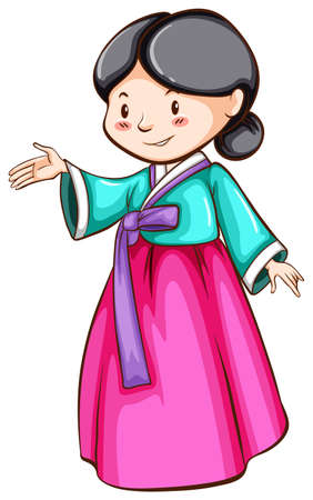 simple girl: Illustration of a simple sketch of an Asian girl on a white background