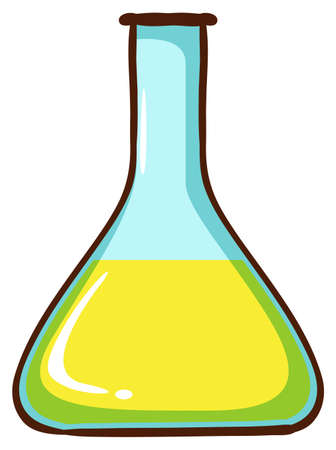 qualitative: Illustration of a simple coloured sketch of a lab glassware on a white background