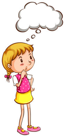 Illustration of a simple coloured sketch of a girl thinking on a white background