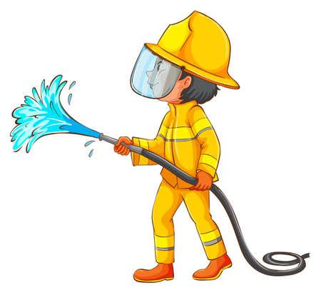 mangera: Ilustración de un simple dibujo de un bombero en un fondo blanco