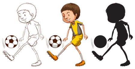Illustration of the sketches of a soccer player in different colors on a white background Vector