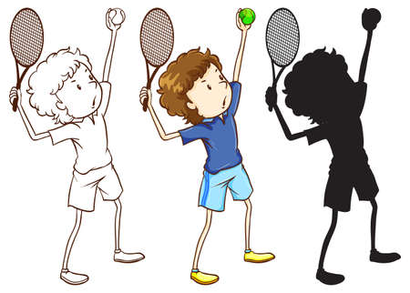 contingent: Illustration of the sketches of the tennis player in three different colours on a white background