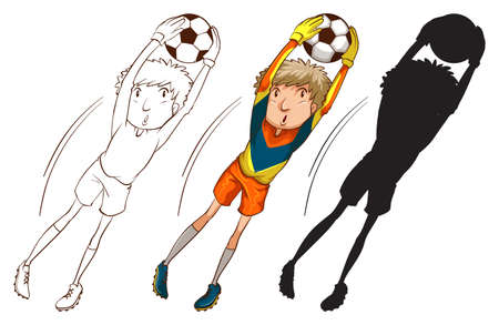Illustration of the soccer players in different colours on a white background Vector