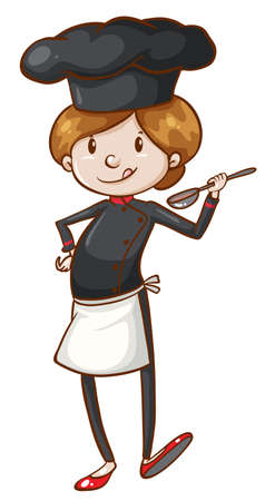chefs cooking: Illustration of a simple coloured sketch of a chef on a white background Illustration
