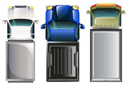 상단: 자동차의 평면도의 그림 일러스트