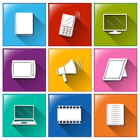Illustration of different color of communication icons Vector