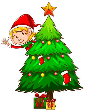 religious clothing: Illustration of a christmas tree and an elf Illustration