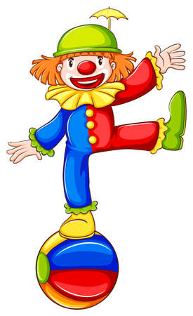 Illustration of coloured sketch of a clown a on a white background Vector