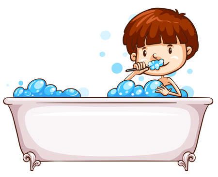 Illustration of a simple sketch of a boy bathing on a white background