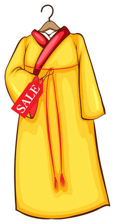 Illustration of a simple coloured sketch of a dress on a white background