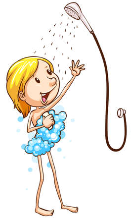showering: Illustration of a woman taking a shower