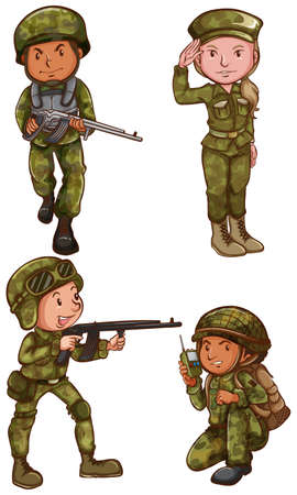 Illustration of the simple sketches of the soldiers on a white background Vector