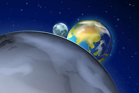 outerspace: Illustration of the planets in the outerspace