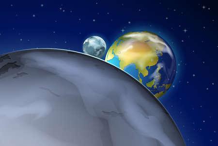 outerspace: Ilustraci�n de los planetas en el espacio exterior Vectores