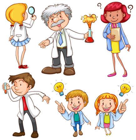 biologist: Illustration of many scientists
