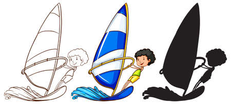 wavelengths: Illustration of the sketches of a boy playing with the waves in three colours on a white background