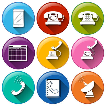 Illustration of different color communication icons Vector