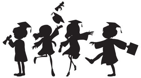 Illustration of people graduating Vector
