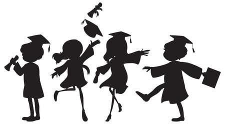 Ilustración de la gente de graduarse