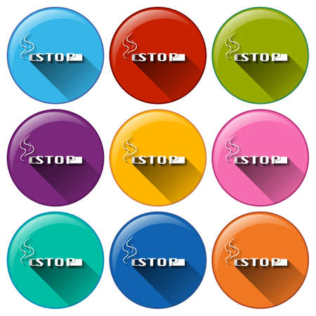 vices: Illustration of the round buttons with a stop smoking template on a white background Illustration